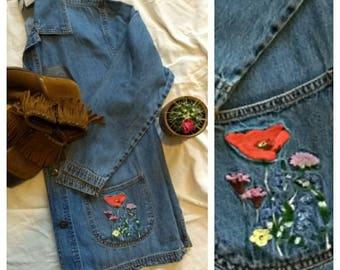 Embroidered Poppy Vintage Denim Jacket