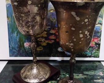 Silver plated wine goblets. Leonard ENPS made in India 1970s.