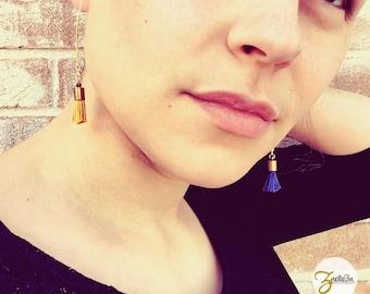 "Mustard yellow tassel earrings / gold crochet / beads - model ""Holika"" al. HOLI / / Zaelleza - Sun / / Bohemian / / spring"