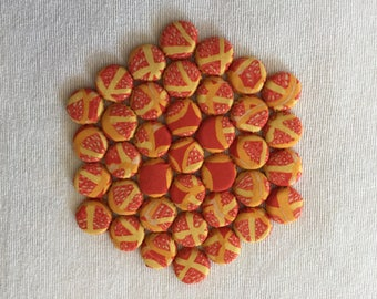 Hexagonal Kitchen Trivet with a Red & Yellow Design