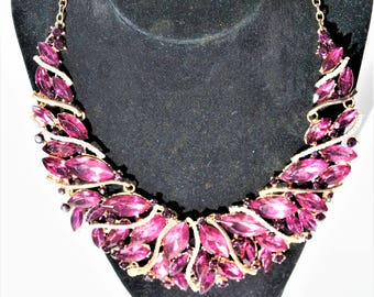 Mauve Purple Pink Crystal gold necklace and earring set