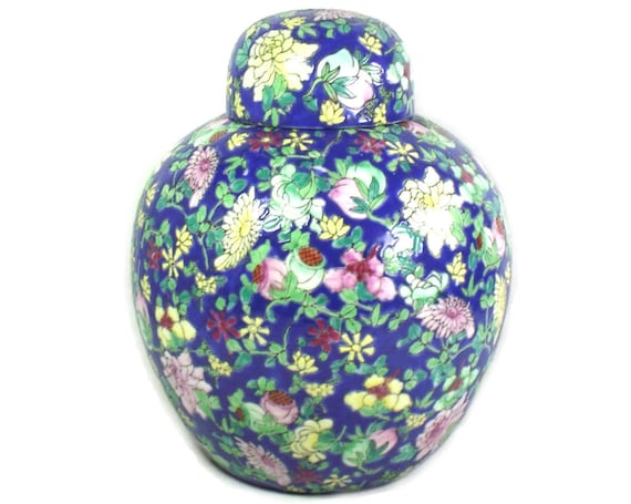 Large Chinese Blue Pink and Yellow Lidded Ginger Jar