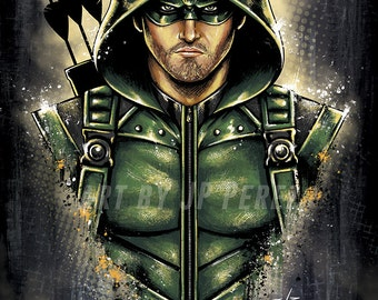 Green Arrow Bust Painting Poster Print