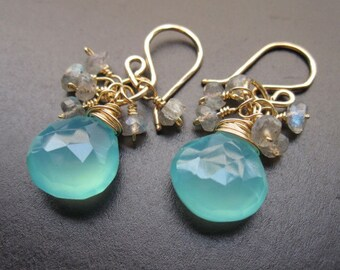 Sea blue chalcedony and labradorite gemstone dangle earrings