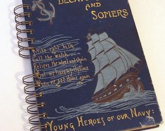 1894 VINTAGE SHIPS LOG Handmade Journal Vintage Upcycled Book Gift for Navy