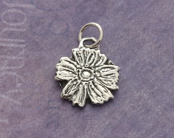 Tiny Sterling Silver Flower Charm – Sterling Flower Charm – Sterling Silver Charm – Flower Jewelry – Sterling Charm – Tiny Wildflower Charm