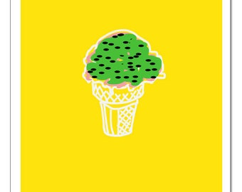 Ice Cream Cone Illustration-Pop Art Print