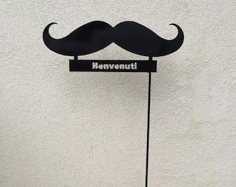 "Garden-Mustache with inscription ""Benvenuti""-garden furniture iron and steel-metal garden art, gift for garden, gift for new home"