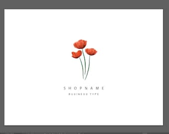Premade Poppy Logo - small business logo - custom logo - startup business - flower business - bespoke branding and graphic design