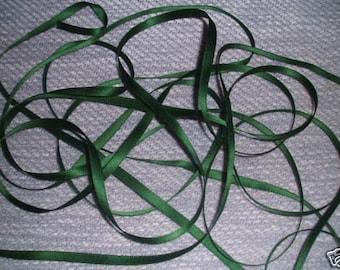 UK Seller:-Dark Green 7mm Green Satin Double Sided Ribbon x 10 metres