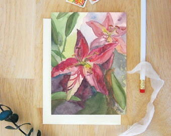 Stargazer Lilies Card, Greeting Card, Blank Greeting Card, Greeting Cards Handmade, Watercolor Art, Botanicals, Florals, Watercolor