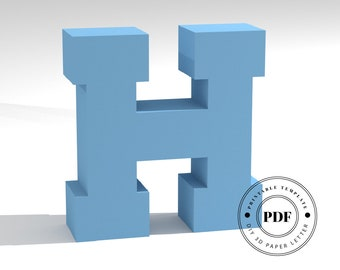 Printable DIY template (PDF).  Letter H low poly paper model template. 3D paper lettering. Origami. Papercraft. Cardboard alphabet.