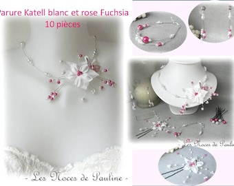 White wedding dress and pink Fuchsia satin flower and Butterfly Katell 10 pieces, jewelry, butterfly ornament