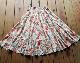 Vintage 80's 90's Country Classics by Koret size S tan & coral floral lily tropical boho full prairie skirt