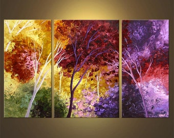 "Landscape Blooming Trees Painting Original Abstract Modern Acrylic by Osnat - MADE-TO-ORDER - 50""x30"""