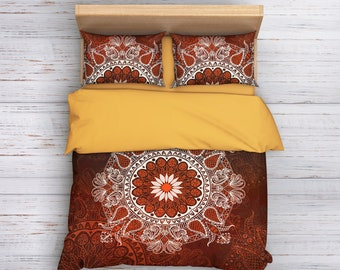 Bohemian Bedding, Boho Bedding, Mandala Bedding, Mandala Bedding Set,Boho Chic,ArtDeco,Boho Brown Bedding,Vintage Bedding