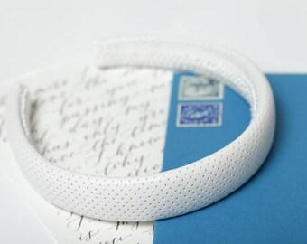 White leather headband White padded headband Classic headband Women padded headband