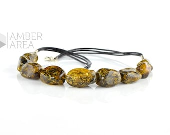 Natural green Baltic amber necklace with leather for Adults, Baltic amber necklace 45 cm or 17,7 inch - 1777