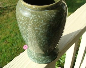 Vintage Brush McCoy Art Pottery Vase With Green Pebbled Spatter Glaze Arts And Crafts Signed Numbered