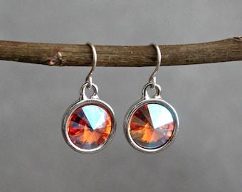Orange Drop Earrings, Orange Dangle Earring, Orange Earrings, Orange Chandelier Earrings, Orange Crystal Earrings, Orange Bridesmaid Earring