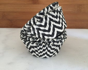 Black Chevron Cupcake Liners, Standard Sized, Stay Bright Baking Cups (50)