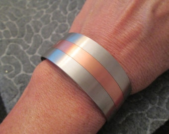 Stunning Brushed Nickel/Copper WIDE Cuff Bracelet>> vintage 1970's, never worn>> LOW PRICING