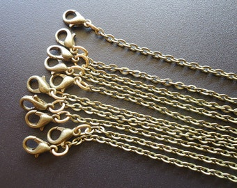 """Finished Necklace Chains - 16"""" 18"""" 20"""" 22"""" 24"""" 26"""" 28"""" 30""""- Antique Bronze, Shiny Gold, or Rose Gold - Set of 10"""