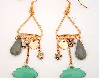 Golden cloud earrings, drop and Star