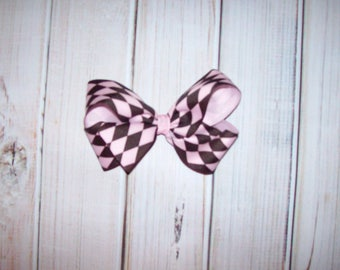 SAMPLE SALE Pink and Brown Argyle Print Large Basic Hair Bow - ready to ship