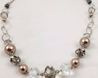 """34"""" Crystal and Faux Pearl Necklace"""
