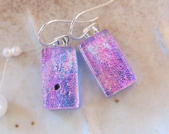 Pink Earrings, Blue, Petite, Dichroic Glass Earrings, Fused Glass Jewelry, Dangle, A12