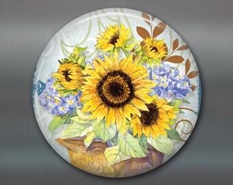 "3.5 "" sunflower magnet - hand painted home decor - country kitchen decor - sunflower decor- decorative magnet - large fridge magnet MA-353"