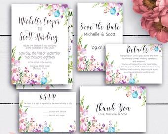 Personalized Floral Wedding Set, Invitation, Save the Date, Floral Wedding Cards, Bohemian Wedding, Printable Watercolor Weddings
