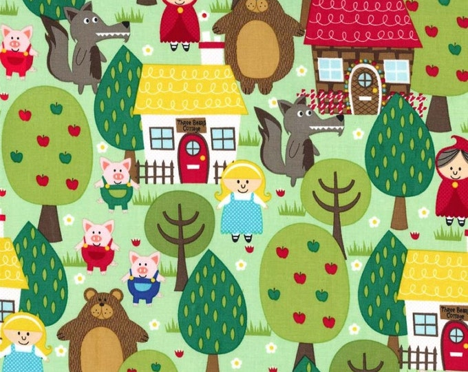 "Into The FOREST Green Cotton Quilt Fabric - by the 33"" Remnant or Fat Quarter Fq Trees Pigs Cottage Three Bears Red Riding Hood Bear"