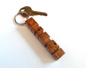 Name Keychain in Koa Wood, Custom Carved to Order