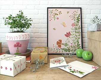 Floral Stencils Set - Diy Herbs and Insects Stencils Kit - Stencils Kit