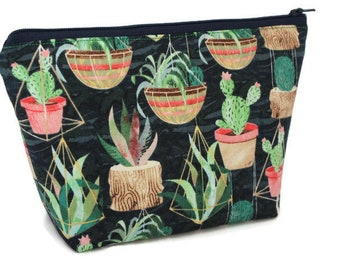Large Cosmetic Bag - Makeup Bag - Accessory Bag - Make up Bag - Toiletry Bag - Gadget Bag -  Jewelry Pouch in Succulents