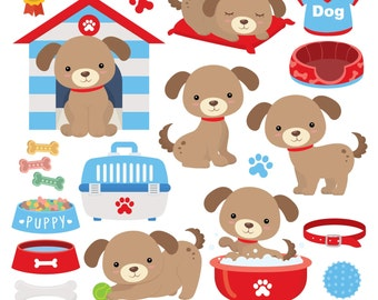 Puppy Dogs Digital Clipart, Puppies Clipart
