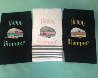 Embroideried Happy Glamper kitchen towels
