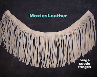 """Leather fringes tan suede 7.5"""" long western - choose size"""