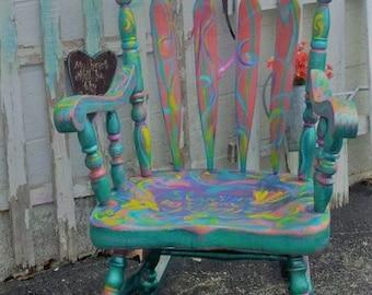 Rocking Chair 'Ocean Girl' Whimsical ART Rocker, Wood ,Gypsy BoHo Vintage PAINT to ORDER Poppy Cottage Hand Painted Custom Furniture