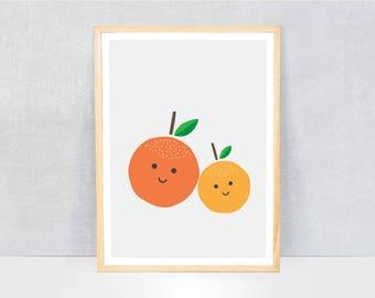 orange print / kids art print / kids wall art / cute illustration / bright colours / kids poster print / fruit