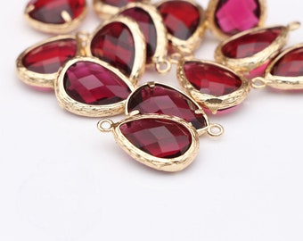 15PC,Quality Gold Plated Brass Faceted Glass Bezel Charm Pendant, Glass Drop,11*15mm,Brass Frame Stone,Birthstone Charm Drop,Pomegranate red