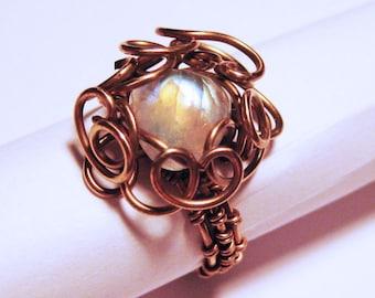 Golden & Blue Rainbow Moonstone Solid Bronze Filigree Ring - UK Size U - Gothic, Steampunk