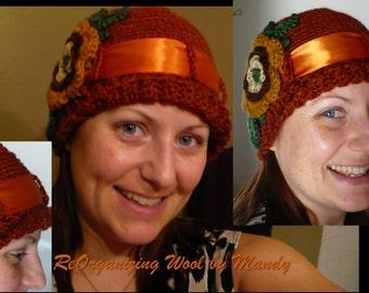 Crochet Autumn Beanie w/ flower and ribbon
