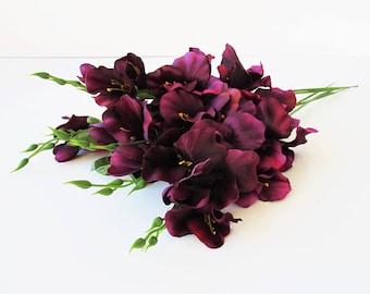 "10 Purple Silk Gladiolus Artificial Flowers Gladiola Branches Purple Green Bouquet Bush Summer Simulation 21 "" Floral Accessory Faux Fake"