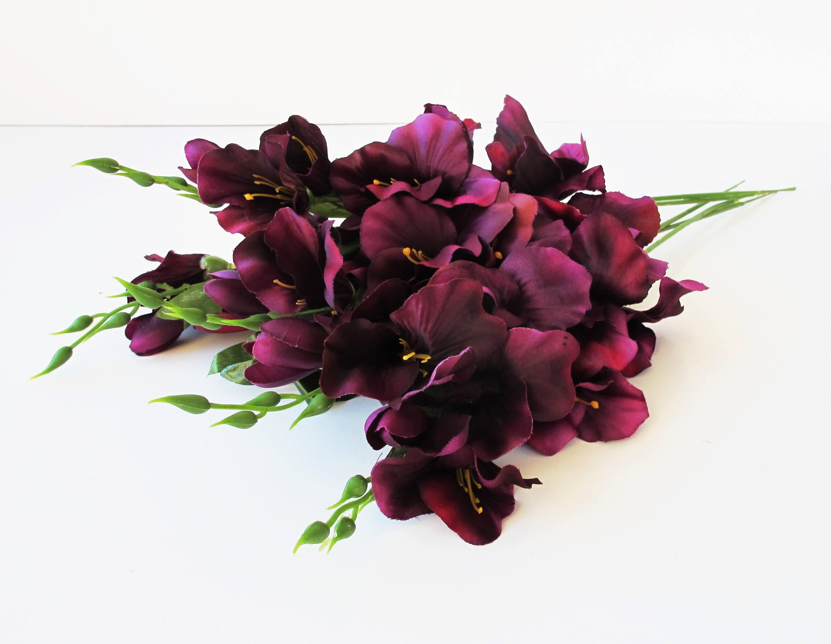 10 Purple Silk Gladiolus Artificial Flowers Gladiola Branches