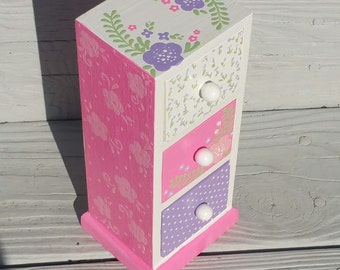 Jewelry Box for Girl First Communion Gift Pink Flowers Personalized