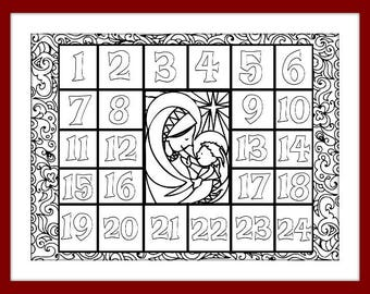 Christmas Coloring Advent Calendar - Printable PDF Download - Xmas Coloring page countdown for kids and adults.Countdown to Christmas