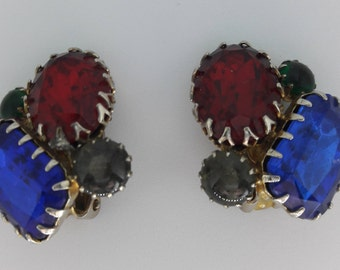 Royal Blue Ruby Red Rhinestone Vintage Clip On Earrings